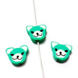Margele polymer, cap de ursulet, verde, 10~11x10~11x4~4.5mm 1 buc