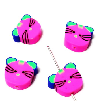 Margele polymer, cap de pisica, fucsia, 9~10x11~12x4~4.5mm 1 buc
