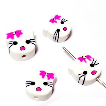 Margele polymer, cap de pisica, alb cu fundita roz, 9~10x11~12x4~4.5mm 1 buc