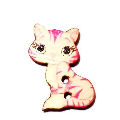 Nasturi lemn, pisicuta crem cu roz, 27x18x3mm 1 buc