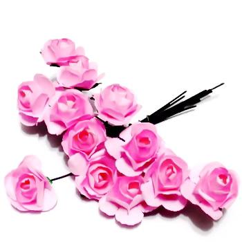 Trandafiri din hartie roz, 20x12mm-legatura 12 buc 1 set