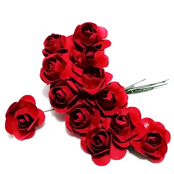 Trandafiri din hartie grena, 20x12mm-legatura 12 buc 1 set