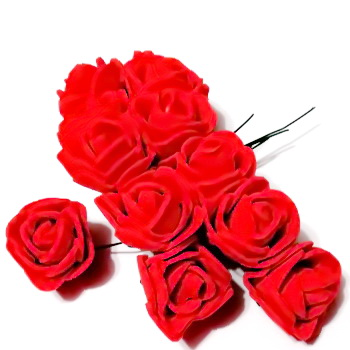 Trandafiri din burete rosu, 22x18mm-legatura 12 buc 1 set