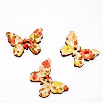Nasturi lemn, 28x20x3mm, fluturas multicolor, model 13 1 buc