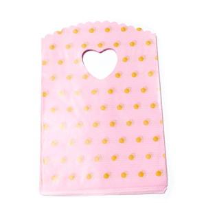 Pungi pt. cadou, roz cu buline albe, 20x13cm cca 50 buc