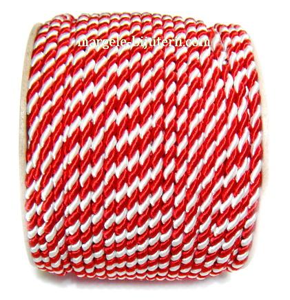 Snur matase rasucit, alb-rosu, pentru martisor, 3mm-bobina 50m 1 buc