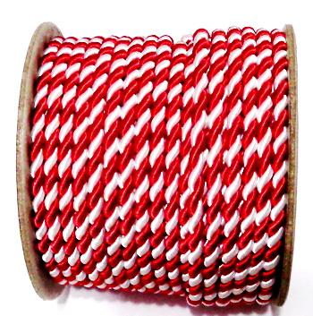 Snur matase rasucit, alb-rosu, pentru martisor, 4mm-bobina 25m 1 buc