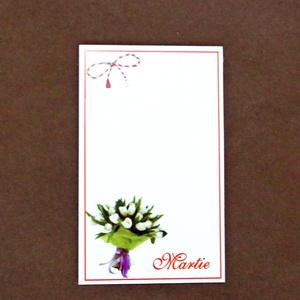 Carton martisor, cu cos de flori, 9.2x5.3cm 10 buc