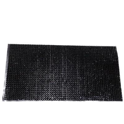 Strasuri plastic negre de 4mm pe folie cu adeziv, aprox. 26x12cm 1 buc