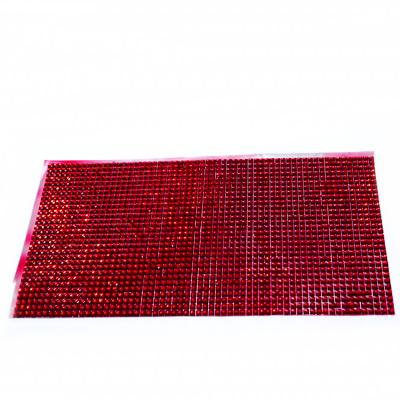 Strasuri plastic rosii de 4mm pe folie cu adeziv, aprox. 26x12cm 1 buc