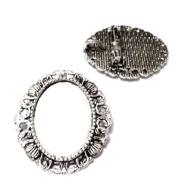 Baza cabochon, argint tibetan, brosa/pandantiv, 34x32mm, interior 25x18mm 1 buc