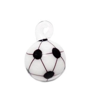 Pandantiv  Lampwork, minge de fotbal, alb cu negru, 22x16x16mm 1 buc