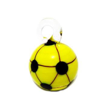 Pandantiv  Lampwork, minge de fotbal, alb cu galben, 22x16x16mm 1 buc