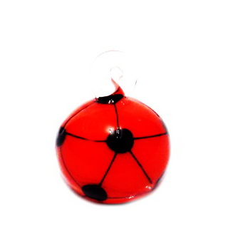 Pandantiv  Lampwork, minge de fotbal, alb cu portocaliu, 22x16x16mm 1 buc