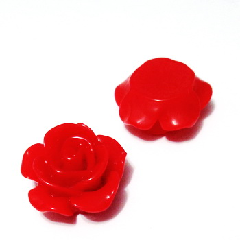 Cabochon rasina, floare rosie, 15x7mm 1 buc