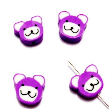 Margele polymer, cap de ursulet, violet, 10~11x10~11x4~4.5mm 1 buc