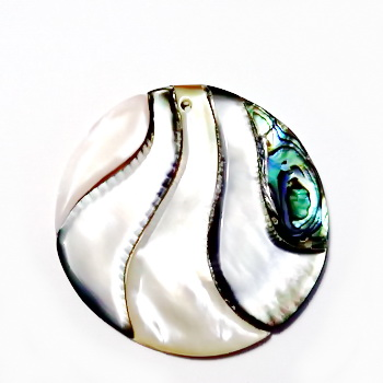 Pandantiv Scoica Paua, rotund, cu striatii, 44x4 mm 1 buc