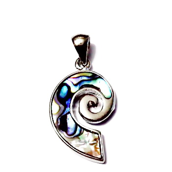 Pandantiv Scoica Paua, pe baza metalica, spirala, 36x18mm 1 buc
