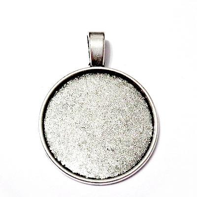 Baza cabochon, argint tibetan, pandantiv 36x27mm, interior 25mm 1 buc