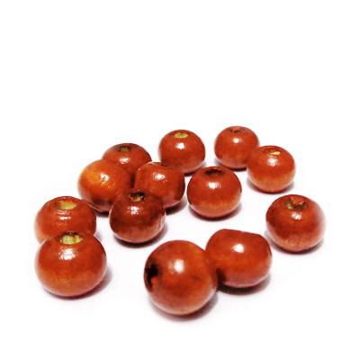 Margele lemn, portocaliu inchis, 8x7mm 30 buc