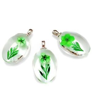 Pandantiv sticla cu interior floare verde, 31x18x10~11mm 1 buc