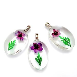 Pandantiv sticla cu interior floare violet, 31x18x10~11mm 1 buc