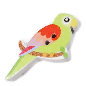 Nasturi lemn, 35x20x4mm,  papagal alb cu verde 1 buc