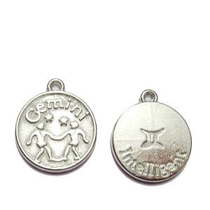 Pandantiv argintiu inchis zodiac, GEMENI, 20x17x3mm  1 buc