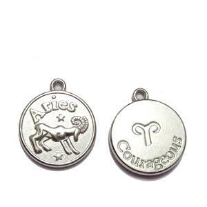 Pandantiv argintiu inchis zodiac, BERBEC, 20x17x3mm   1 buc