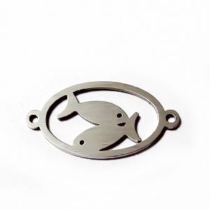 Conector/link otel inoxidabil zodiac, PESTI, 24x12mm  1 buc