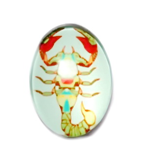 Cabochon sticla zodiac, SCORPION, 25x18mm  1 buc