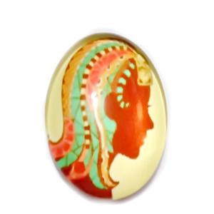 Cabochon sticla zodiac, FECIOARA, 25x18mm   1 buc