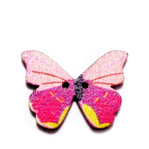 Nasturi lemn natur, fluturas multicolor, 20x28x2mm, model 12 1 buc