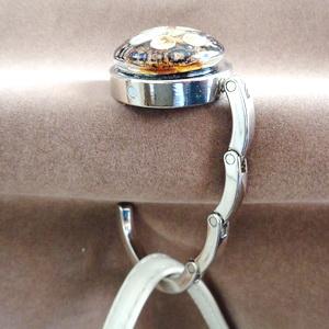 Agatatoare metalica pt. genti, haine, 44x8mm, cabochon Murano galben de 30x10mm 1 buc