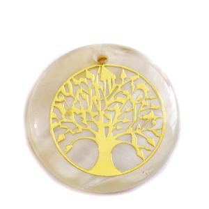 Pandantiv sidef crem-auriu, 25~25.5x1.5~2mm, cu imprimeu auriu ,,copacul vietii' 1 buc