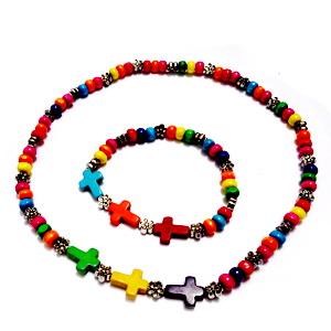 Set colier si bratara margele lemn multicolore cu accesorii si cruciuite turcoaz 1 set