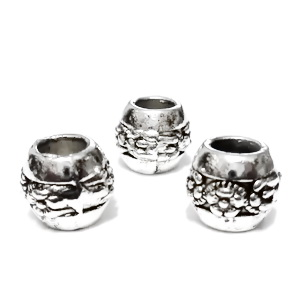 Margele tibetane, stil Pandora, 11x9mm, cu floricele, 10x8mm, orificiu: 5mm 1 buc