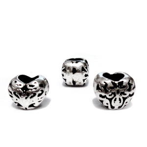 Margele tibetane, stil Pandora, inima  7x10x9mm, orificiu 5mm 1 buc