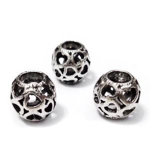 Margele tibetane, stil Pandora, cu inimioare, 10x10mm, orificiu 5mm 1 buc