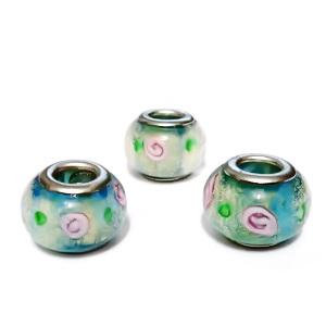 Margele tip Pandora, Lampwork, bleu cu flori, 14x10mm, orificiu 5mm 1 buc
