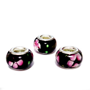 Margele tip Pandora, Lampwork, negre cu flori, 13x8mm, orificiu 5mm 1 buc
