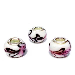 Margele tip Pandora, Lampwork, albe cu flori, 13~14x10~11mm, orificiu 5mm 1 buc