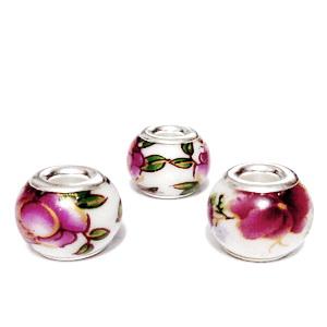 Margele tip Pandora, Lampwork, albe cu flori roz si auriu, 14.5x11mm, orificiu 5mm 1 buc