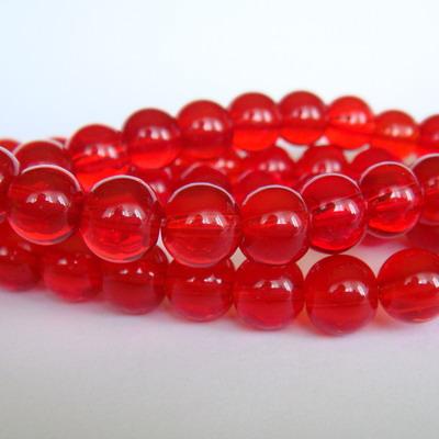 Margele sticla rosii transparente 10mm 10 buc