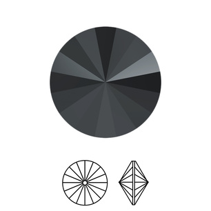 Swarovski Elements, Rivoli 1122 - Jet Hematit, 10mm 1 buc