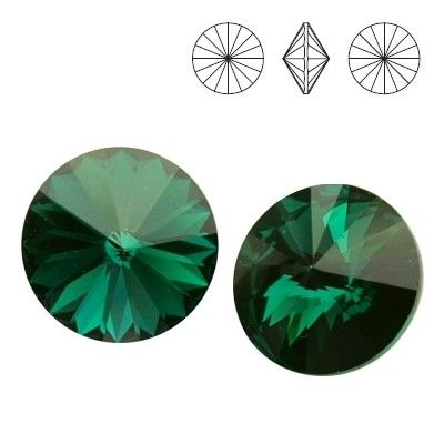 Swarovski Elements, Rivoli 1122 - Emerald, 12mm 1 buc
