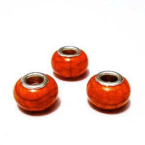 Margele tip Pandora, plastic, imitatie turcoaz portocaliu, 14x9mm, orificiu 5mm 1 buc