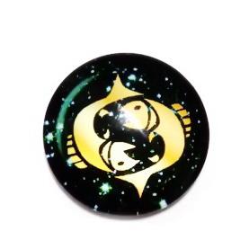 Cabochon sticla zodiac, PESTI, 14x4mm  1 buc