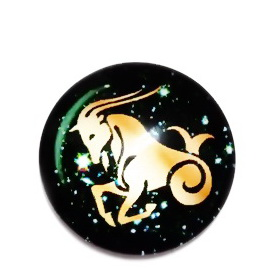 Cabochon sticla zodiac, CAPRICORN, 14x4mm  1 buc