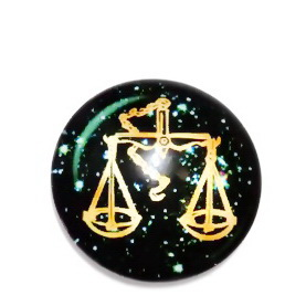 Cabochon sticla zodiac, BALANTA , 14x4mm  1 buc